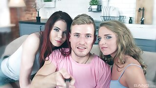 Erotic FFM threesome with slender babes Sofi & Tetti Dew Komi
